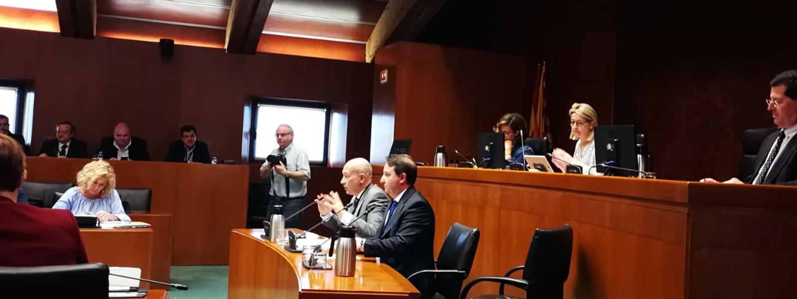 Comparecencia en las Cortes de Aragón en relación con la Proposición de ley de apoyo al trabajo autónomo y al emprendimiento en Aragón